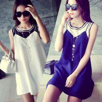 欧美时尚2015夏季新款圆领无袖宽松打底衫显瘦拼接短款A字连衣裙
