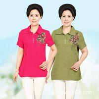 纯棉妈妈短袖T恤中长款新款时尚老年人衣服中老年女装打底衫直销