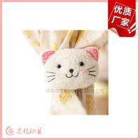 厂家来图定制可爱的猫咪头像窗帘扣 卡通动物窗帘绑带窗帘夹
