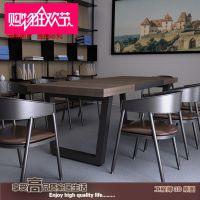 供应美式乡村复古实木铁艺餐桌椅酒吧桌办公桌咖啡桌电脑桌长方形桌椅