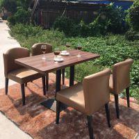 海德利实木胡桃色餐桌椅 美式乡村室外餐厅桌椅组合