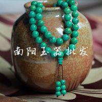 纯天然绿松石佛珠108颗算盘珠佛珠手链 念珠挂珠