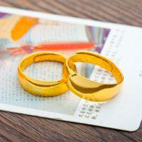 久不掉色 铜镀黄金戒指 男女款镀24K真金光面戒指 情侣款戒指混批