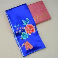 时尚中国风 真丝手工刺绣绣花围巾 桑蚕丝绸缎丝巾宝蓝色