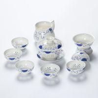 云顶陶瓷 青花瓷镂空茶具套装玲珑盖碗十头功夫套组高档礼品特价 YCJ03