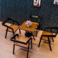 美式餐桌椅 铁艺实木方形桌椅休闲茶餐厅咖啡厅餐桌椅组合可定制