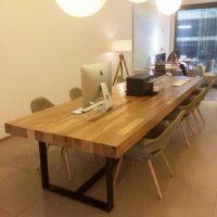 美式乡村北欧咖啡茶餐厅餐桌椅实木复古书桌 铁艺办公桌会议桌