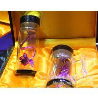 东海水晶杯节日礼品双层保温水晶杯茶杯刻字定制产地天然水晶杯