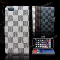 iphone 6方格子纹皮套5GS PLUS左右翻支架插卡手机套透明相框皮套