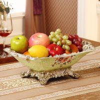 欧式宫廷风陶瓷树脂裂纹高脚方型水果盘 家居装饰品 餐厅餐桌