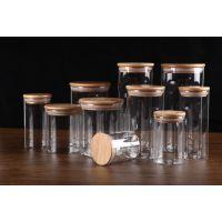竹木盖子防爆裂耐高温玻璃储藏罐家居用品储藏罐
