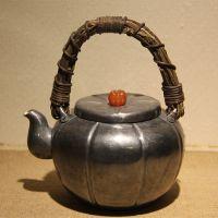 三江殿 藤把南瓜壶 纯手工银壶 纯银茶具茶壶 银质 1.3L左右