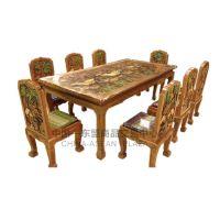 泰国纯手雕柚木方形8座餐桌001
