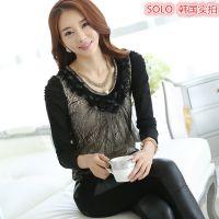 韩国实拍 秋季女装新款 韩版修身钉珠链条蕾丝打底衫女