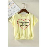 日韩外贸原单批发尾货出口成衣童装亲子装淑女短袖蝙蝠衫T恤F10A