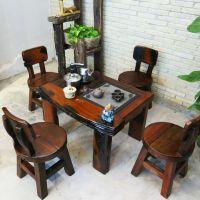 老船木实木家具 沉船木茶桌椅组合中式功夫茶桌茶几阳台小型茶台