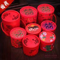 传统中国风烫金圆筒喜糖盒喜糖盒子结婚喜糖袋糖果盒婚庆用品批发