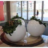 球形斜口花盆 玻璃钢商场花盆 高档时尚花盆 圆形花盆