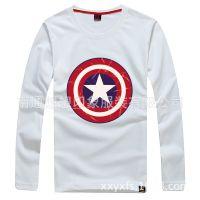 春秋季新款韩版美国队长印花打底衫男士长袖圆领T恤批发