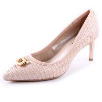 欧洲站外贸品牌编织牛皮真皮尖头鞋 金属扣浅口细跟高跟单鞋女鞋