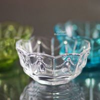 特价 杂货 复古日式水滴浮雕刻花透明玻璃小碗甜品碗酱料碗烟灰缸