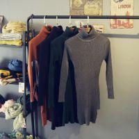 MU.Z--RI 简约款纯色高领打底毛衣 女式紧身针织毛衣 中长打底衫