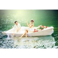 供应庆荣木业欧式手划船 景观装饰船 做旧船 仿古木船