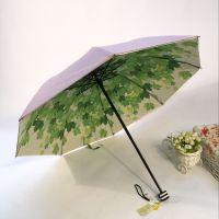 YL【雅乐制伞】加强防晒防紫外线真双层伞布 内印图案女士三折伞