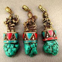 尼泊尔 多款黄铜佛像 手工镶嵌不规则绿松石吊坠 佛教元素散料