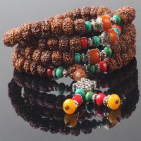 藏式精品大小古金刚菩提子佛珠108尼泊尔绿松石切面陈年老籽手串