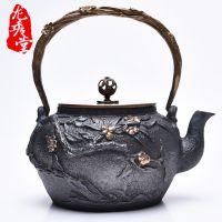 龙秀堂鎏金铁壶批发 镶嵌高端手工铁壶厂家 定制铸铁茶壶