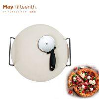 外贸厨房小工具 陶瓷披萨板套装 烘焙工具套装披萨轮刀 切披萨台