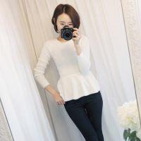 2015新款 出口韩国东大门 圆领长袖收腰百褶荷叶边打底衫 T恤