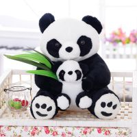 厂家直销 国宝大熊猫公仔竹叶母子熊猫仿真母子熊猫玩偶婚庆礼品
