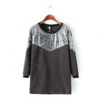 2014秋冬新款韩版圆领套头加厚长款卫衣女长袖纯色亮片棉质打底衫