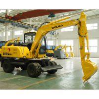 沃尔华7.6吨挖掘机可以安装抓木器的轮胎挖掘机