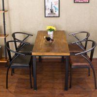复古实木餐桌 美式酒店餐厅桌椅组合 松木做旧餐桌家用长方形餐桌