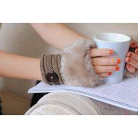 韩国可爱毛线半指手套 冬季保暖针织毛毛短手套露指 键盘打字