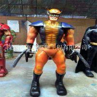 供应蜘蛛侠奥特曼动漫影视玻璃钢卡通机器人雕塑 价格:38800/个