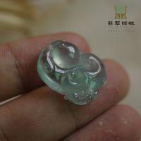 缅甸玉天然翡翠a货 高冰带绿如意 冰种如意挂件 可出证书