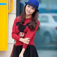 秋冬韩版新款针织圆领卡通米奇宽松常规款 女式长袖套头打底衫