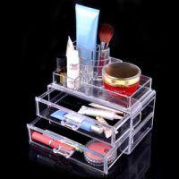 透明水晶化妆品收纳盒宜家桌面式首饰二层抽屉组合款亚克力储藏盒