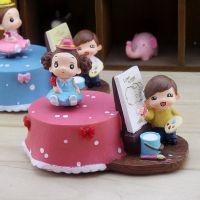 9017 生日礼物创意家居摆件 卡通蛋糕画画情侣精品旋转音乐盒