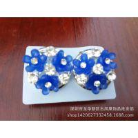 2014新款韩国饰品热卖镶钻大花朵时尚女士耳钉速卖通