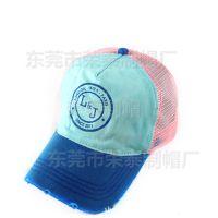 夏季潮男女士网帽洗水做旧破洞 户外鸭舌货车网帽网眼帽纯棉吸汗