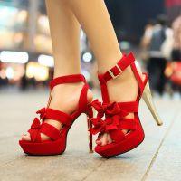 外贸新款夏女鞋花朵防水台高跟鞋罗马性感鱼嘴超高跟凉鞋批发