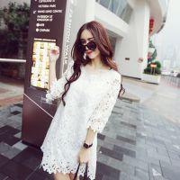 大码孕妇装大码夏季新款优雅显品味 孕妇蕾丝镂空花边连衣裙