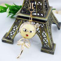 父亲节促销饰品 卡通可爱娃娃跳舞镶钻 女孩手机链手机挂件3516-2