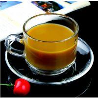 精品时尚透明玻璃杯 咖啡杯 带把茶杯 耐热杯碟套装 特价热销中