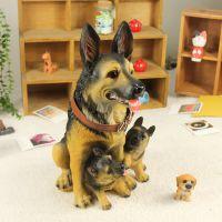 优沃家居创意礼品 树脂工艺品 仿真狗模 动物摆件 母子三只狼狗